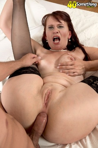 Brutally pounded bigtit skanks gags on cock