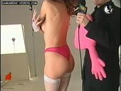 Adriana Calvo butt in pink thong