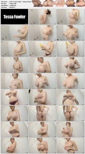 Tessa Fowler ~ Beige Shower Camis GoPro 1 ~ Large Breasts