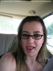 vanessa driving home with cum on her face